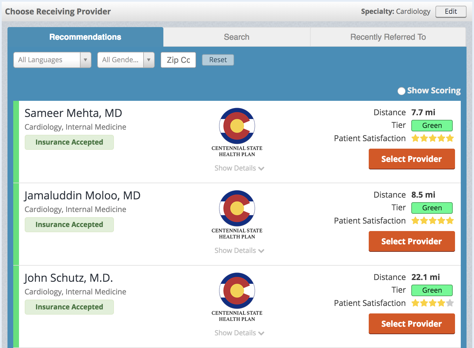 Care Compass Provider Recommendation List Example